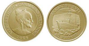 Рис. 22. 20 крон. Дания, 2009, алюминиевая бронза. Аверс: профильный портрет королевы Дании Маргрете II; реверс: , « Плавучий маяк XVII в.»