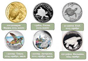 Рис.2. Изображения черепахи на современных монетах