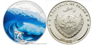 Рис.28. Монета с ароматом морского бриза 5 долларов. Палау, 2010, серебро, 2500 экз.