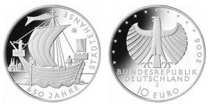 Рис.14.  10 евро, Германия, 2006. Памятная монета в честь 650-летия Ганзейского союза.
