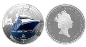 Рис.1  2 новозеландских доллара. Острова Питкэрн, 2013, серебро.  На реверсе – лайнер «Королева Елизавета»