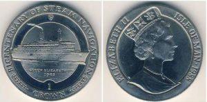 Рис. 2 1 крона. Остров Мэн, 1988,  медь-никель. На реверсе –лайнер «Королева Елизавета»