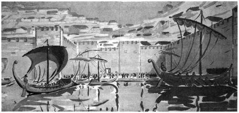Рис 1. Вид Ольвии. Реконструкцуия С.Д. Крыжицкого